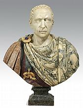 Italian carved marble bust of Caesar, 35