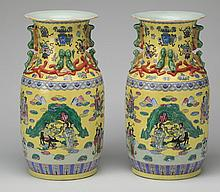 (2) Chinese export famille jaune vases, 18