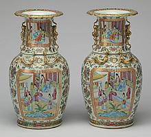 (2) Chinese export rose medallion vases, 17