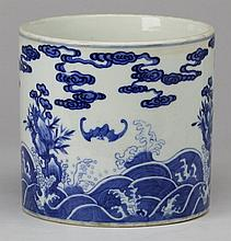 Chinese porcelain brush pot, Kangxi mark