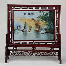 Chinese painted on silk tabletop screen, 31