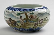 Chinese porcelain brush washer, Qianlong mark