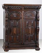 Mid 19th c. English carved oak cabinet