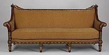 Carved and parcel gilt mahogany sofa, 85
