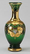 Bohemian emerald green and gilt vase