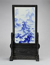 Chinese blue and white porcelain plaque, 32