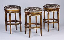 (3) Swivel top upholstered bar stools