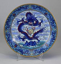 Chinese enamel cloisonne charger with dragons