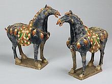 (2) Terracotta Tang-style horses, 33