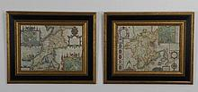 (4) 17th c. English maps, framed