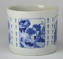 Chinese porcelain brush pot, marked