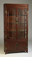 Asian inspired mahogany display cabinet