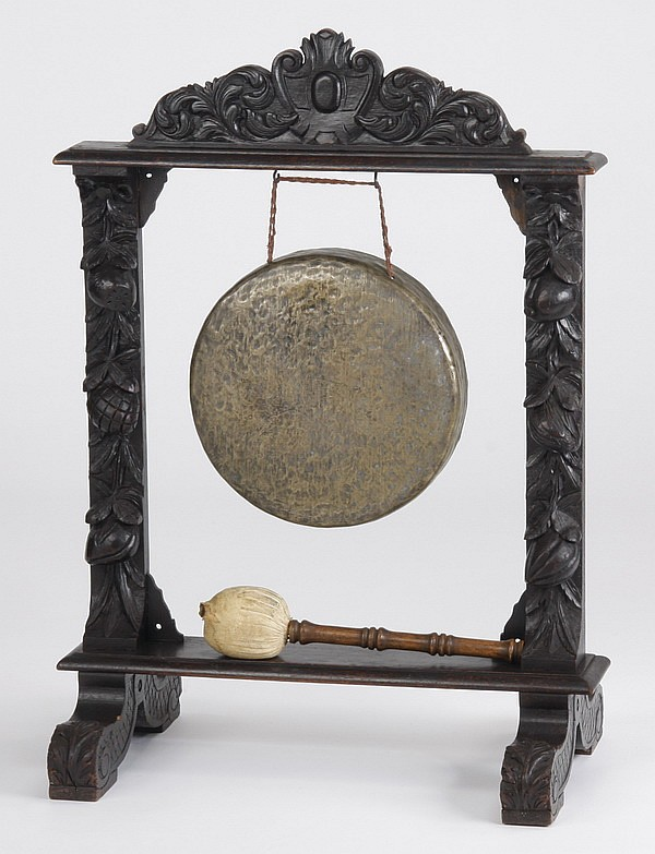 19th c. gong and mallet in walnut stand