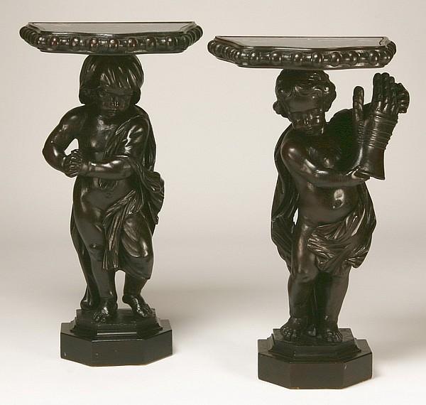 (2) 19th c. Venetian figural pedestals, 42