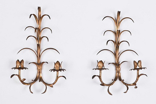 Pair of French tole wall sconces