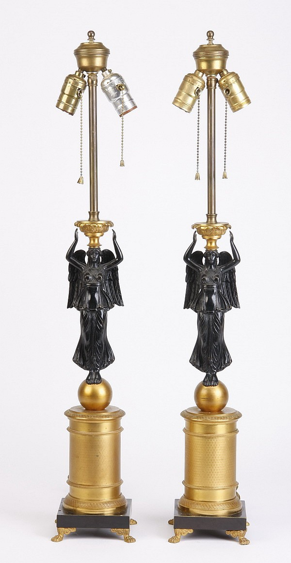 (2) 19th c. bronze Empire style table lamps