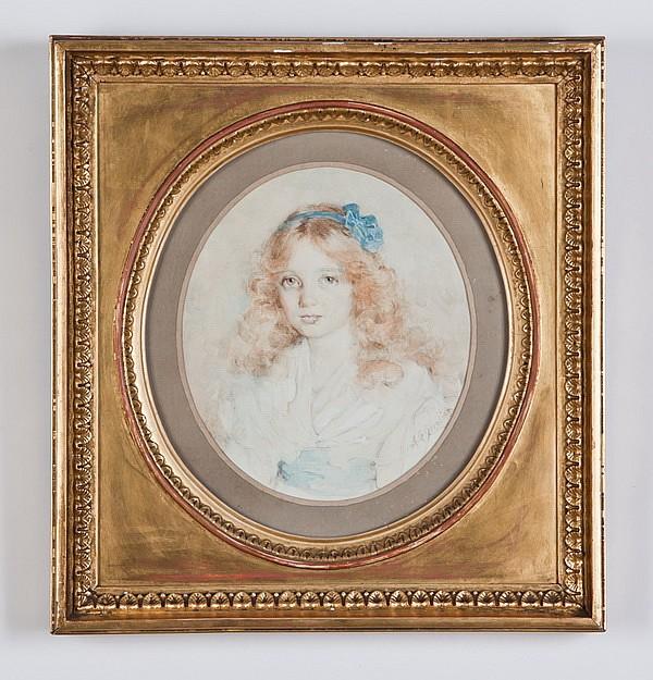 19th c. watercolor portrait, signed Grinling