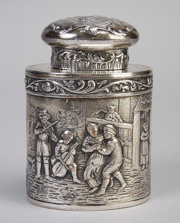 19th c. American silver container, hallmarked
