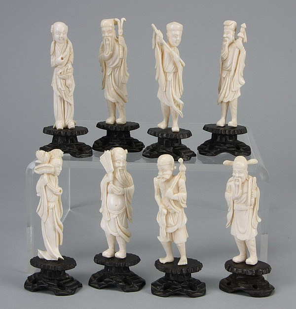 (8) Early 20th c. Chinese ivory figures