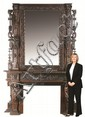 Monumental 19th c. carved walnut mantle