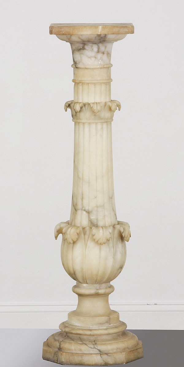 Late 19th c. carved marble pedestal