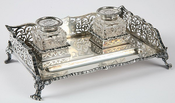 19th c. English crystal and sterling inkwell