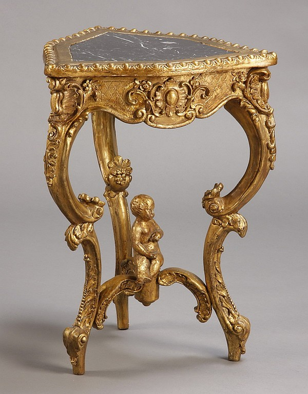 19th c. gilt wood and marble pedestal table