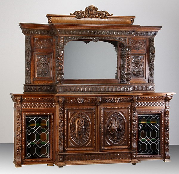 19th c. English carved oak buffet