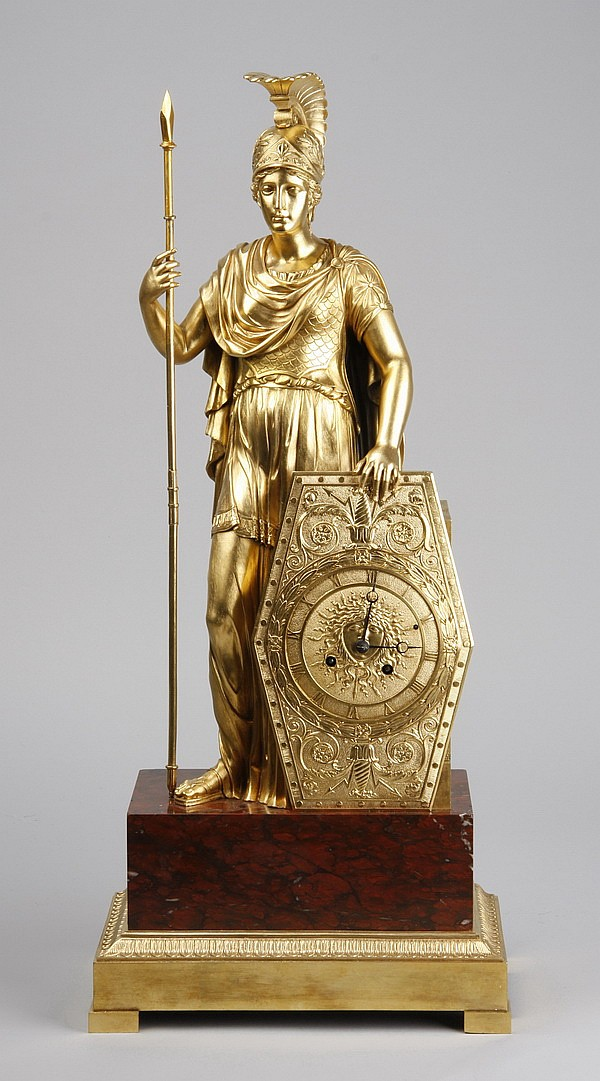 19th c. bronze figural clock