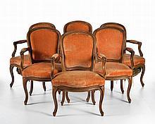 Suite de 6 fauteuils cabriolet d'époque Louis XV