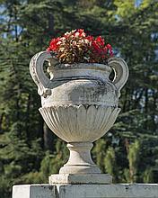 Paire de vases balustre à décor de feuilles d'eau