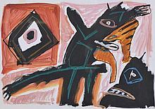 Lucebert (1924-1994)    Masques, gouache s