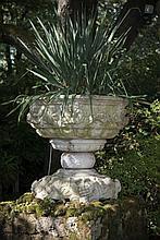 Grande vasque à décor sculpté de lions