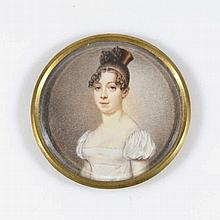 Jeune femme époque Empire gouache sur ivoire, diam. 7 cm