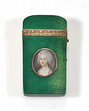 Nécessaire de voyage orné du portrait d'une jeune femme France XVIIIe s. Ga