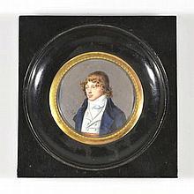 J.-F. Hev Jeune homme en veste bleue gouache sur ivoire signée diam. 6 cm
