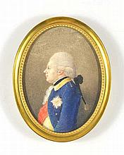 Officier Vernet en veste bleue fin XVIIIe s. Gouache sur ivoire, 9x6,5 cm