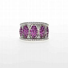 Adler, bague sertie de diamants et saphirs roses or gris 750, doigt 53-13