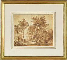 Alexandre Calame (1810-1864)  Promenade sous les arbres au bord de la riviè