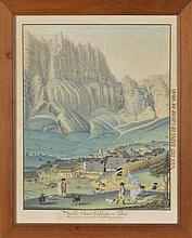Ecole Suisse XIXe s.  Vue des bains de Loèche en Valais  aquarelle sur papi