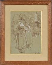 Otto Vautier (1863-1919)  Deux Valaisannes discutant  crayon gras et craie