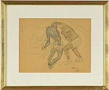Otto Vautier (1863-1919)  Les boxeurs, étude  mine de plomb et aquarelle, s
