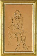 Otto Vautier (1863-1919)  Nu accoudé  fusain sur papier signé 74x44 cm