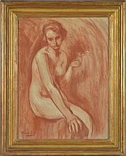 Otto Vautier (1863-1919)  Nu assis  sanguine sur papier, 60x40 cm