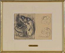 Eugène Carrière (1849-1906)   Etude de personnages   fusain et crai