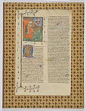 Page manuscrite, France, probablement Xve s  avec miniature