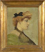 Honoré de Callias 1847-1921)  Portrait de femme  huile sur toile si