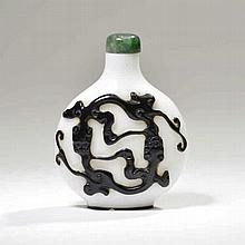 Ensemble de 2 tabatières  Chine,  l'une en jade en forme de carpe,