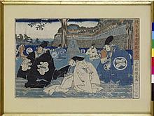 Scènes de kabuki  12 estampes sur papier  Japon, XIXe s.  21x33