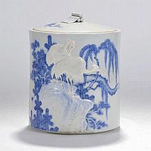 Pot couvert cylindrique  XIXe s./XXe s.  porcelaine partiellement é